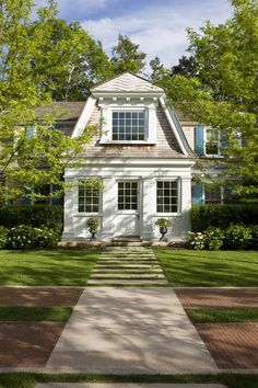 Catalano Architects Inc. White wood and shingle combo for exterior reno. Dutch Colonial, Patio, Outdoor Fire, Easy Home Decor, White Houses, Architecture Details, Sustainable Architecture, Cottage Style, My Dream Home