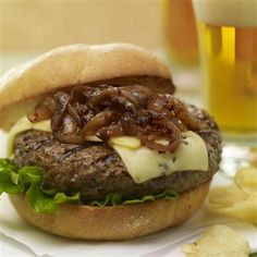 Yum... I'd Pinch That! | Brew Burgers with Carmelized Onions #recipe #justapinch