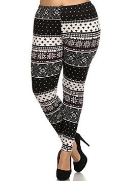 Women's Tribal Snowflake Printed Fashion Plus Size Leggings With Fleece Lining at Amazon Women's Clothing store: