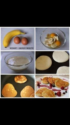 Easy Breakfast!  1 ripe banana and two whole eggs. Mix together. Cook on low heat. Gluten free and low calories under 250 calories.