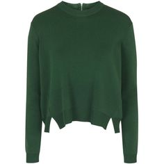 TOPSHOP Modern Zip Crew Jumper ($75) ❤ liked on Polyvore featuring tops, sweaters, green, topshop tops, green jumper, crew neck tops, rayon tops and crewneck sweater