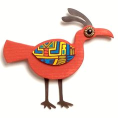 Whimsical Red Mid Century Modern Style Wood Bird Wall Art Decor by aveModern on Etsy