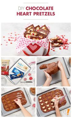 A sweet & salty snack for your Valentine. Valentines Day Treats, Holiday Treats, Chocolate Hearts, Chocolate Desserts, Preschool Snacks, Salty Snacks, Seasonal Food, Sweet And Salty, Food Gifts