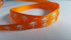 3m Ribbon - Printed Grosgrain - 9mm - Skull & Crossbones - Orange