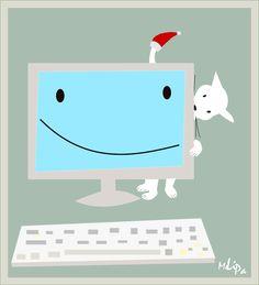 Cat and Computer: Santa Claus Cat   | MeinLilaPark