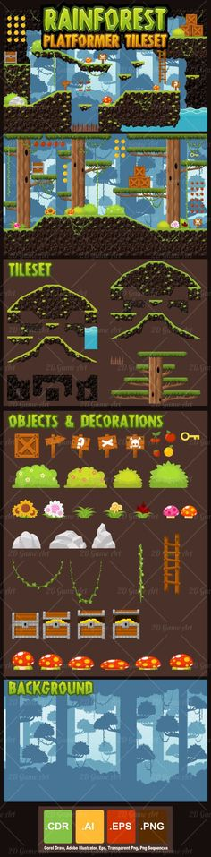 A set of vector game asset / graphic / sprite / art contains ground tiles and several items / objects / decorations, used for creating platformer games.  Suitable for action or adventure platformer games with rainforest, jungle, forest, nature, and or similar themes.#2d #game #assets #sprite #tileset #tile #jungle #forest