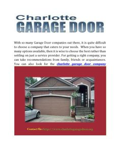 Garage Door Service Charlotte | Garage Doors, Garage Door Service And Doors