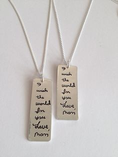 Memorial Jewelry Custom Designed SIlver Tablet by surfingsilver   Great alternative to having my mom's handwriting tattooed