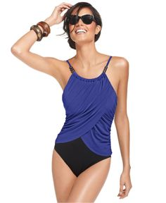 513fb28caff Magicsuit Draped Allover Slimming Underwire One-Piece Swimsuit & Reviews -  Swimwear - Women - Macy's