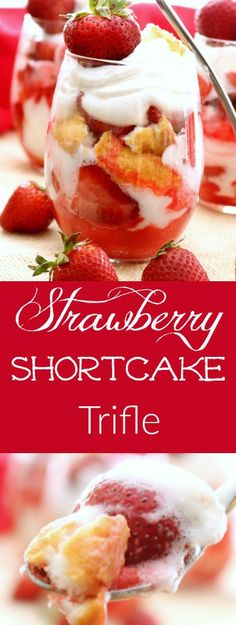 Strawberry Shortcake Trifle has layers of homemade strawberry sauce, luscious whipped cream and fluffy angel food cake. This combination of ingredients comes together to create the perfect bite