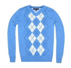 Tommy Hilfiger Men Fashion V-neck Argyle Sweater Pullover (XL, Blue/white/black)