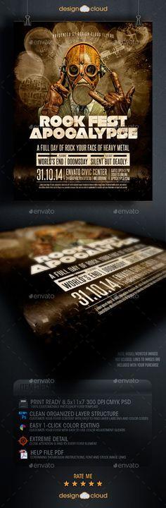 Rock Fest Apocalypse Poster Flyer Template by Design Cloud/Flyer Gurus