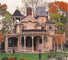 Victorian Exterior: Multi-level roof line, covered patio, intricate carved detailing.