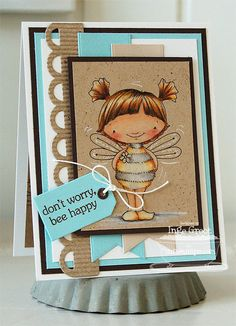 Patterned Paper : My Favorite Things Stamps New Product Tour Day II, Bee Happy! card by Inge Groot