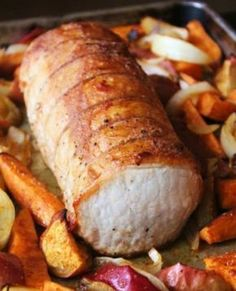 Pork Roast with Sweet Potatoes, Apples and Onions.