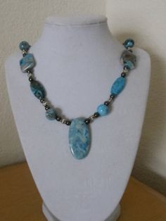 Blue Crazy Lace Agate Necklace/Ladies blue by CreationsbyMaryEllen