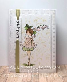 Bellarific Friday February 10 2017 - SKETCH CHALLENGE Tiny Townie Garden Girl LILY of the VALLEY Rubber stamp, card by Paula Williamson
