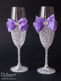 Purple Wedding glasses from the collection LACE white by DiAmoreDS, $47.00