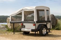 Jeep and Mopar are now starting to offer two types of off-road camper trailers for those interested in taking a road trip this summer, packed with adventure and Off Road Camper Trailer, Trailer Tent, Camper Trailers, Travel Trailers, Jeep Camping, Family Camping, Mopar Jeep, Jeep 4x4, Jeep Trails