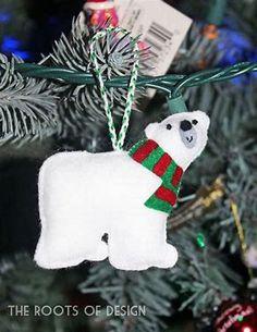 Image result for Polar Bear Felt Christmas Ornament Free Pattern Handmade Christmas Decorations, Felt Decorations, Felt Christmas Ornaments, Polar Bear Christmas Decorations, Christmas Trees, Christmas Projects, Felt Crafts, Holiday Crafts, Felt Projects