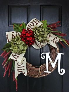 Welcome the Holidays Wreath 2, Happy Holidays Burlap Bow Wreath, Red and Green Hydrangea Christmas Wreath, White Monogram Christmas Wreath