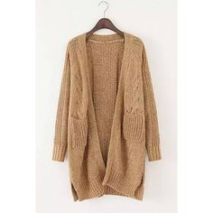 Yoins Khaki Chunky Cardigan ($37) ❤ liked on Polyvore featuring tops, cardigans, outerwear, yoins, coats and sweaters, sweaters, khaki, shirts & tops, chunky open front cardigan and beige cardigan