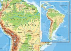 South America Physical Map Wall Maps, Vinyl Banners, South America, Physics, Diagram, Prints, Poster, Art, Art Background