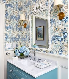 pamela harvey is the best at colors - interior designer - blue home Room Design, Colorful Interiors, Interior, Powder Room Design, House Interior, Bathroom Interior, Interior Design, Bathroom Decor, Beautiful Bathrooms