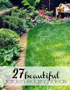Increase the beauty of your lawn by adding garden edging that works well with the style and feel of your home. Here are 27 gorgeous garden edging ideas Garden Ideas Driveway, Backyard Garden Landscape, Small Backyard Gardens, Landscape Edging, Big Garden, Lawn And Garden, Garden Landscaping, Garden Tips, Lawn Edging