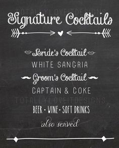 Chalkboard Signature Drink Sign  signature by TotallyLoveItDesigns, $12.00