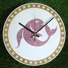 "Zodiac Sign PISCES Wall Clock DIA 12"" Inch Gold Glitter Colour: Black Clock Hands"