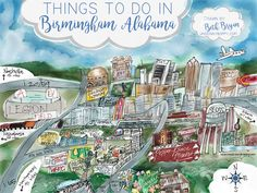 Cartoon Map of Birmingham, Alabama Landmarks Art Print by bethbryan - X-Small Oh The Places You'll Go, Places To Travel, Travel Destinations, Stuff To Do, Things To Do, Magic City, Birmingham Alabama, Travel Info, Travel Ideas