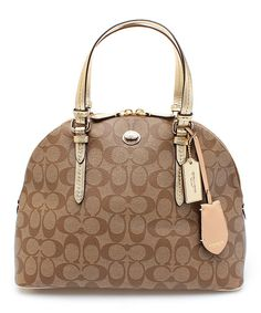 Look at this Khaki & Ivory Peyton Signature Cora Domed Satchel on #zulily today!