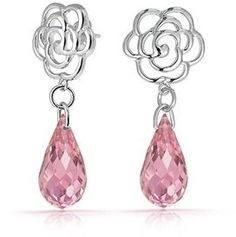 Bling Jewelry Rose Earrings Simulated Pink Topaz Glass Rhodium Plated Brass.