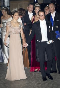 Crown Princess Victoria and Prince Daniel of Sweden at Luxembourg wedding gala