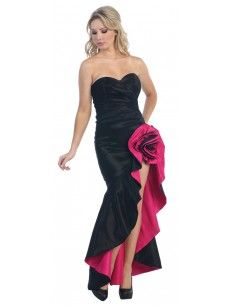 Black and Fuchsia Gathered Rose Pick-Up Gown