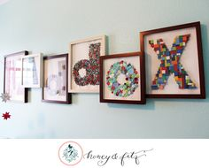 DIY Nursery Name Collage - LOVE LOVE LOVE this idea of using small objects to spell out the name!!!