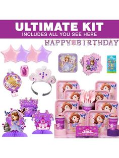 Sofia The First Birthday Party Ultimate Tableware Kit Serves 8| BirthdayInaBox.com