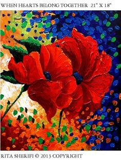 RED POPPIES PAINTING Original painting Poppies Art direct from artist Room decoration