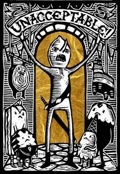 Stampa di Woodblock Lemongrab di WoodcutEmporium su Etsy