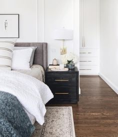traditional master bedroom decor with modern wall decor, gray and white bedroom decor, pottery barn bedroom design, modern meets traditional neutral guest bedroom decor, transitional bedroom with nightstand decor and neutral bedding House Interior, Master Bedrooms Decor, Bedroom Decor, Home, Interior, Bedroom Inspirations, Home Bedroom, Modern Bedroom, Home Decor