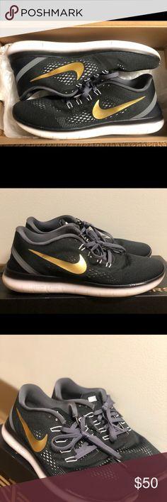 fe6c4d34e6a Custom NikeID Black and Gold Tennis Shoes