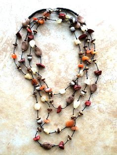 Long Boho Necklace Terracotta Stones Stone by FrancaandNen on Etsy