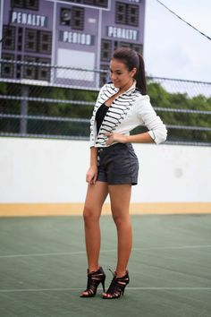 black and white outfit, black and white jacket, leather shorts, Ralph Lauren, booties, fall look, street style