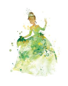 Princess Tiana Art Print Watercolor Print Princess Print Disney Print Home decor Wall Art Disney Princess Poster Gift Nursery Kids Decor