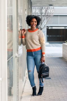 If only we had more months of sweater weather here in Houston. *Sigh*  I could wear comfy stylish sweaters all the time! Especially this one ;) The elbow patches and orange outlining turn this stri…