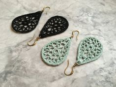 Small Crocheted Teardrop Earrings - Black or Mint