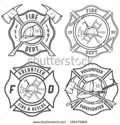 Firefighter Badge Template Set of fire department emblems Firefighter Logo, Firefighter Crafts, Volunteer Firefighter, Firefighter Tattoos, American Firefighter, Firefighters Wife, Police Logo, Fire Badge, Badge Template