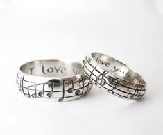 Custom Music Note Wedding Bands – Original Real Music Notes Ring, Sterling Music Ring, Sheet Music Nerd Wedding Rings, Geekery, Personalize Your Song Wedding Bands – High End Nerd Wedding Rings – Geek Chic – Silver – Personalize – Made to Order – Music Jewelry, Cute Jewelry, Wedding Jewelry, Jewelry Rings, Etsy Jewelry, Handmade Jewelry, Nerd Wedding Rings, Wedding Bands, Nerd Rings