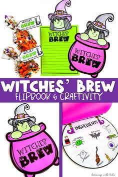 "Check out this Halloween writing and craft resource! Your students will love imagining up their own witches' brew or writing about the one you make together with this craftivity. You can read them a witchy poem or write your own. Finish up with a delicious treat and a ""Witches' Brew"" gift tag. Halloween Activities, Holiday Activities, Halloween Themes, Halloween Fun, Halloween Decorations, Upper Elementary Resources, Witches Brew, School Holidays, Autumn Theme"